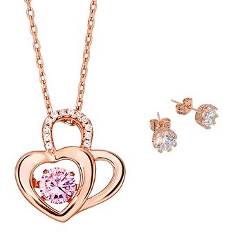Pica LéLa Heart to Heart Necklace & Earrings Set