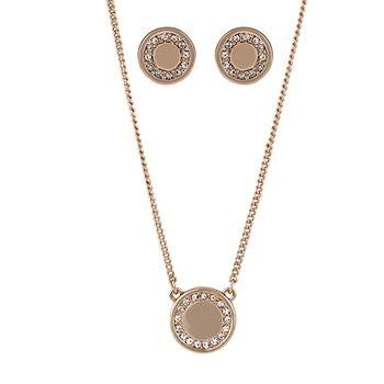 Buckley London Rose Gold Shoreditch Pendant and Earring Set