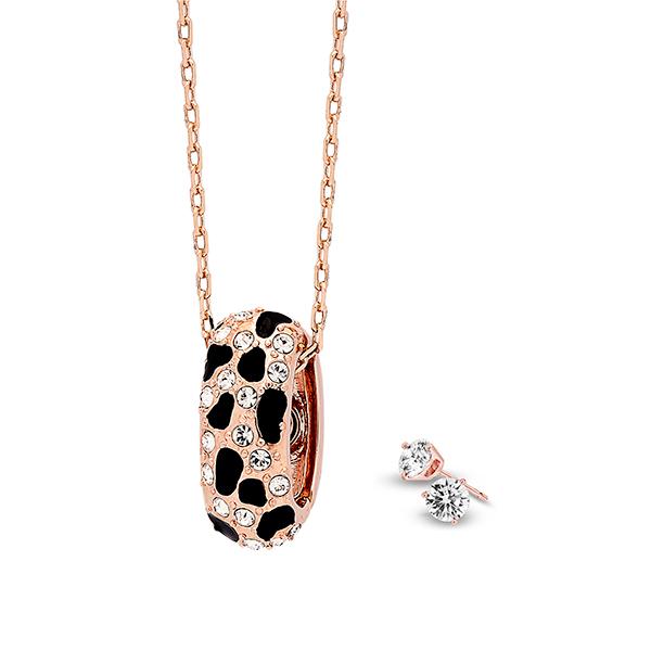 Pica LéLa MYSTIQUE Crystal Enamel Pendant Necklace& Earrings Set Image