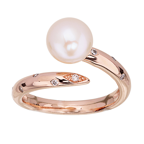 Pica LéLa MARGARET Freshwater Pearl & Clear Crystal Ring Image