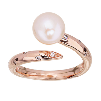 Pica LéLa MARGARET Freshwater Pearl & Clear Crystal Ring
