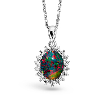Wellington Silver Necklace with Shimmering Triplet Opal Pendant