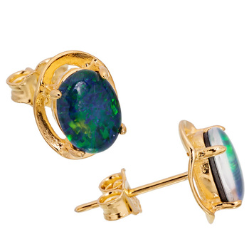 Wellington Classic Gold Earstuds with Triplet Opal